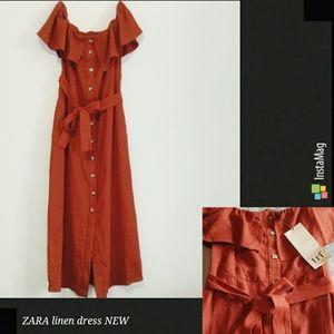 New Zara rust orange button linen dress XS